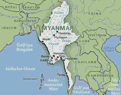 Karte Myanmar.Karte Von Myanmar